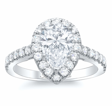 Pear Pave Halo Engagement Ring - click to enlarge