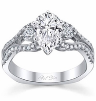 Pear Shaped Three Stone Engagement Ring with Split Shank