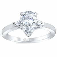 Pear Three Stone Engagement Ring with Baguettes