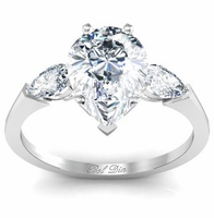 Pear Three Stone Engagement Ring with Cathedral Setting