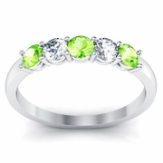 Peridot and Diamond 5 Stone Ring