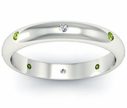 Peridot and Diamond Domed  Landmark Eternity Ring