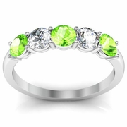 Peridot and Diamond Gem Stone Ring