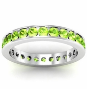 Peridot Eternity Ring in Channel Setting