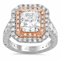 Pink Diamond Double Halo Engagement Ring for Radiant Diamond