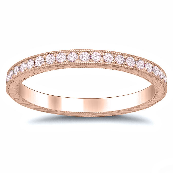 pink diamond rose gold hand engraved eternity band - Pink Diamond Wedding Ring