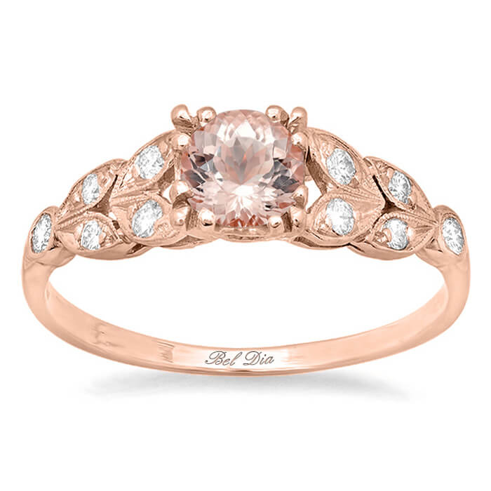 ring h morganite engagement gold rose i vintage carat diamond