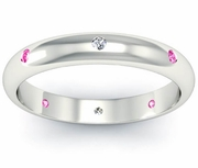 Pink Sapphire and Diamond Domed Landmark Eternity Ring