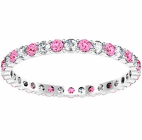 Pink Sapphire and Diamond Eternity Band 0.70cttw