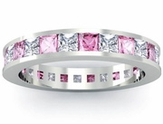 Pink Sapphire and Diamond Eternity Wedding Ring