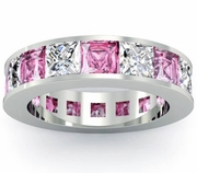 Pink Sapphire and Diamond Gemstone Eternity Anniversary Ring