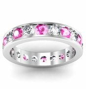 Pink Sapphire and Diamond Round Gemstone Eternity Ring in Channel Setting