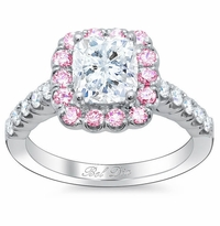 Pink Sapphire Cushion Halo Engagement Ring