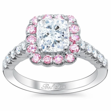 two made tone halo pink man rose engagement diamond plated gold unique cut promise stones carat double round media rings ring
