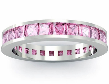 Pink Sapphire Eternity Anniversary Ring - click to enlarge