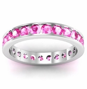 Pink Sapphire Eternity Band in Channel Setting