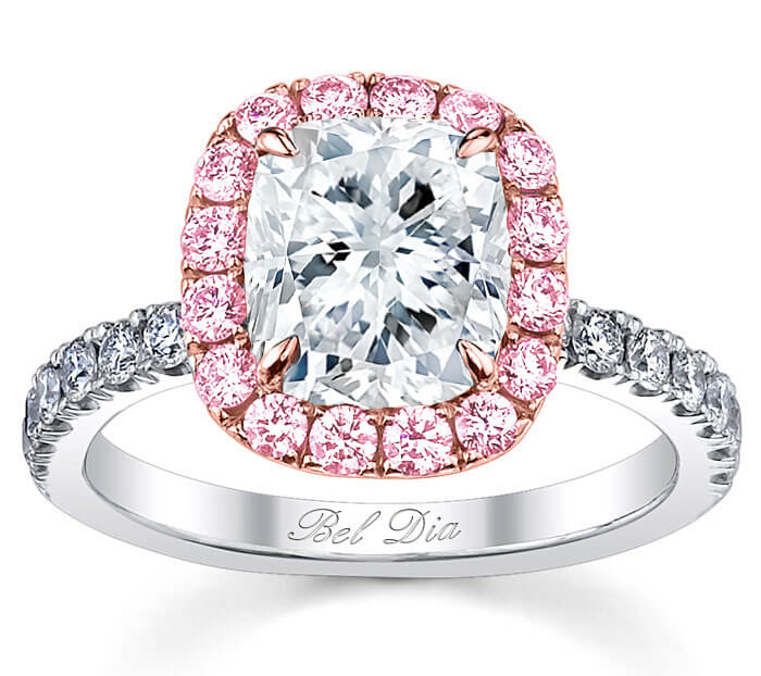 rings cushion ring diamond engagement moissanite pink round halo