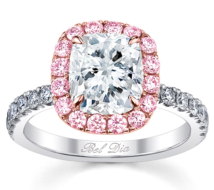pink sapphire halo engagement ring for cushion diamond - Pink Wedding Ring