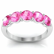 Pink Sapphire Ring Five Stones 1.50cttw