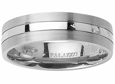 Pipe Cut Men's Palladium Ring with Grooves - click to enlarge