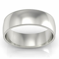 Plain Milgrained Men's Wedding Ring (7 mm)