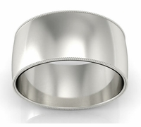 Plain Palladium Men's Wedding Band with Milgrain (10 mm)
