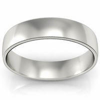 Plain Wedding Ring with Milgrain for Men (5 mm)