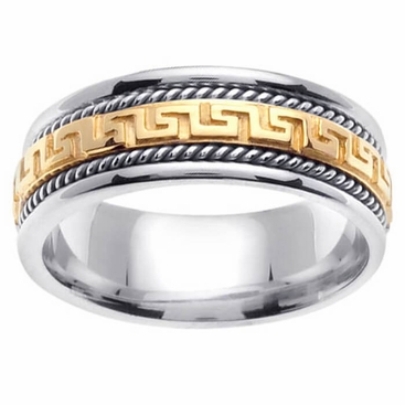 Platinum 18kt Gold Two Tone Wedding Ring Greek Key Design