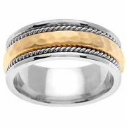 Platinum & 18kt Hammered Wedding Ring in 8.5mm Comfort Fit