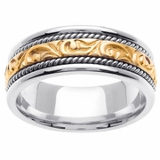 Platinum & 18kt Handmade Mens Wedding Ring in 7 mm