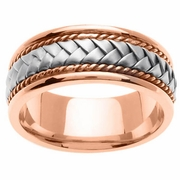 Platinum & 18kt Rose Gold Handmade Wedding Band in 8.5mm Comfort Fit