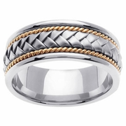 Platinum & 18kt Two Tone Wedding Ring in 8.5mm Comfort Fit