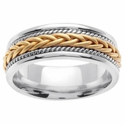 Platinum & 18kt Unique Wedding Ring in 7 mm Comfort Fit