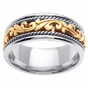 Platinum & 18kt Yellow Gold Wedding Ring in 9mm Comfort Fit