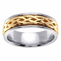 Platinum and Gold Celtic Wedding Band