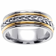 Platinum & Gold Braided Wedding Ring in 8 mm Comfort Fit