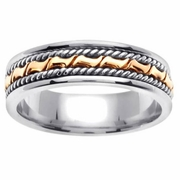 Platinum Gold Wedding Band in 6 mm Comfort Fit