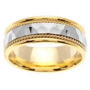 Platinum Gold Wedding Band in 7.5 mm Comfort Fit