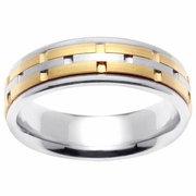 Platinum Gold Wedding Ring in 6.5 mm Comfort Fit
