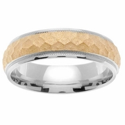 Platinum Mens Wedding Band with Hammered 18kt Center
