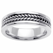 Platinum Ring with Handmade Braided Center