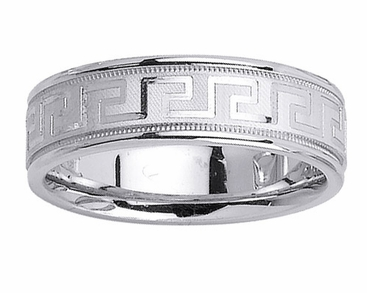 Platinum Wedding Band Greek Key Design - click to enlarge