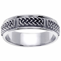 Platinum Wedding Band in 6mm Comfort Fit Mens or Ladies Celtic Wedding Ring