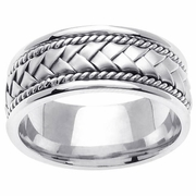 Platinum Wedding Band in 8.5mm Comfort Fit Mens or Ladies Handmade Wedding Ring