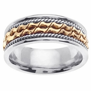 Platinum & Yellow Gold Mens Wedding Ring in 8 mm Comfort Fit