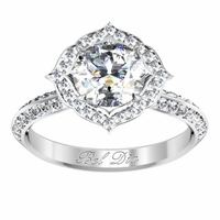 Pointed Floral Halo Engagement Ring