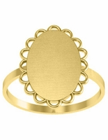 Pretty Scalloped Edge Oval Signet Ring