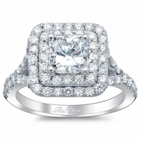 Princess Baby Split Double Halo Engagement Ring