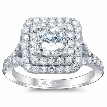 Princess Baby Split Double Halo Engagement Ring - click to enlarge