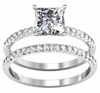Princess Cut Diamond Engagement Ring with Matching Wedding Ring
